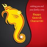 Ευτυχές σχέδιο ευχετήριων καρτών σκίτσων chaturthi ganesh Στοκ εικόνα με δικαίωμα ελεύθερης χρήσης