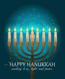 Ευτυχές σχέδιο ευχετήριων καρτών Hanukkah, εβραϊκές διακοπές επίσης corel σύρετε το διάνυσμα απεικόνισης Στοκ Φωτογραφία