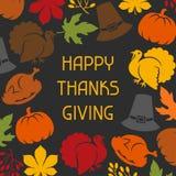 Ευτυχές σχέδιο καρτών ημέρας των ευχαριστιών με τις διακοπές ελεύθερη απεικόνιση δικαιώματος