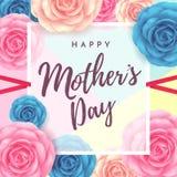 Ευτυχές σχέδιο σχεδιαγράμματος ημέρας μητέρων ` s με το υπόβαθρο λουλουδιών Στοκ Φωτογραφίες