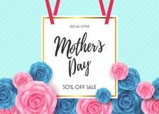 Ευτυχές σχέδιο σχεδιαγράμματος καρτών ημέρας μητέρων ` s με το υπόβαθρο λουλουδιών Στοκ Εικόνες