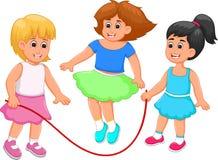 Ευτυχές σχοινί άλματος παιχνιδιού κινούμενων σχεδίων παιδιών με την ευτυχία ελεύθερη απεικόνιση δικαιώματος