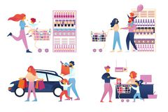 Ευτυχές σύνολο οικογενειακών αγορών που απομονώνεται Υπεραγορά διανυσματική απεικόνιση