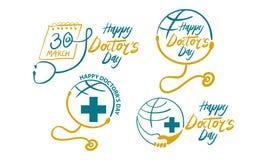 Ευτυχές σύνολο προτύπων ημέρας γιατρών ` s Στοκ Εικόνες
