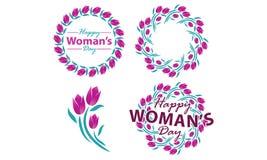 Ευτυχές σύνολο προτύπων ημέρας γυναικών ` s Στοκ Εικόνα