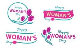 Ευτυχές σύνολο προτύπων ημέρας γυναικών ` s Στοκ φωτογραφία με δικαίωμα ελεύθερης χρήσης