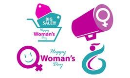 Ευτυχές σύνολο προτύπων ημέρας γυναικών ` s Στοκ Εικόνες