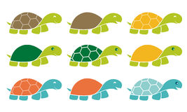 Ευτυχές σύνολο λογότυπων εικονιδίων χελωνών διανυσματική απεικόνιση