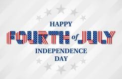 Ευτυχές τέταρτο του εμβλήματος ημέρας της ανεξαρτησίας Ιουλίου για την ΑΜΕΡΙΚΑΝΙΚΗ εθνική εορτή Στοκ Φωτογραφία