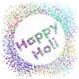 Ευτυχές τετραγωνικό έμβλημα Holi με gulal Στοκ Εικόνες