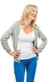 Ευτυχές τζιν παντελόνι γυναικών που απομονώνεται στο άσπρο υπόβαθρο Στοκ εικόνες με δικαίωμα ελεύθερης χρήσης
