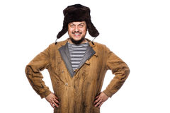 Ευτυχές τρελλό ρωσικό χαμόγελο ατόμων Στοκ εικόνα με δικαίωμα ελεύθερης χρήσης