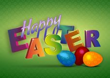 Ευτυχές τρισδιάστατο κείμενο Πάσχας με τα ζωηρά χρώματα και το δυναμικό baclground ελεύθερη απεικόνιση δικαιώματος