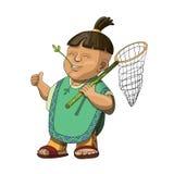 Ευτυχές των Αζτέκων παιδί με nettle Στοκ Φωτογραφία