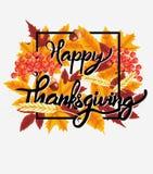 Ευτυχές υπόβαθρο εορτασμού ημέρας των ευχαριστιών Κολοκύθα, φύλλα, μούρα του Rowan, βελανίδια Στοκ Φωτογραφία
