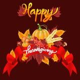 Ευτυχές υπόβαθρο εορτασμού ημέρας των ευχαριστιών Κολοκύθα, φύλλα, μούρα του Rowan, βελανίδια Στοκ εικόνες με δικαίωμα ελεύθερης χρήσης