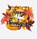 Ευτυχές υπόβαθρο εορτασμού ημέρας των ευχαριστιών Κολοκύθα, φύλλα, μούρα του Rowan, βελανίδια Στοκ Εικόνα