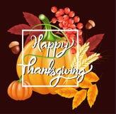 Ευτυχές υπόβαθρο εορτασμού ημέρας των ευχαριστιών Κολοκύθα, φύλλα, μούρα του Rowan, βελανίδια Στοκ φωτογραφία με δικαίωμα ελεύθερης χρήσης