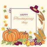 Ευτυχές υπόβαθρο ημέρας των ευχαριστιών με την εποχιακά διακόσμηση και το κείμενο Απεικόνιση αποθεμάτων