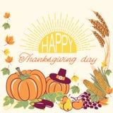 Ευτυχές υπόβαθρο ημέρας των ευχαριστιών με την εποχιακά διακόσμηση και το κείμενο Διανυσματική απεικόνιση