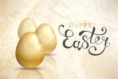 Ευτυχές υπόβαθρο Πάσχας με τα ρεαλιστικά αυγά Πάσχας κάρτα Πάσχα διανυσματική απεικόνιση
