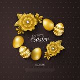 Ευτυχές υπόβαθρο Πάσχας με τα χρυσά αυγά και τα λουλούδια Σχεδιάγραμμα σχεδίου για την πρόσκληση, κάρτα, έμβλημα, αφίσα, απόδειξη Στοκ φωτογραφία με δικαίωμα ελεύθερης χρήσης