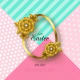 Ευτυχές υπόβαθρο Πάσχας με το χρυσά πλαίσιο και τα λουλούδια Σχεδιάγραμμα σχεδίου για την πρόσκληση, κάρτα, έμβλημα, αφίσα, απόδε Στοκ φωτογραφία με δικαίωμα ελεύθερης χρήσης