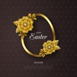 Ευτυχές υπόβαθρο Πάσχας με το χρυσά πλαίσιο και τα λουλούδια Σχεδιάγραμμα σχεδίου για την πρόσκληση, κάρτα, έμβλημα, αφίσα, απόδε Στοκ Φωτογραφία