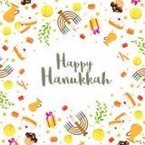 Ευτυχές υπόβαθρο φεστιβάλ Hanukkah με διακοσμημένος με τα τρόφιμα elem ελεύθερη απεικόνιση δικαιώματος