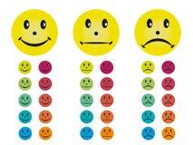 Smileys στα διαφορετικά χρώματα Στοκ φωτογραφίες με δικαίωμα ελεύθερης χρήσης