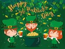 Ευτυχές φεστιβάλ ημέρας Αγίου Πάτρικ ` s Ιρλανδικός εορτασμός Πράσινα φύλλα τριφυλλιών τριφυλλιού στο υπόβαθρο απομονώσεων για τη στοκ εικόνα