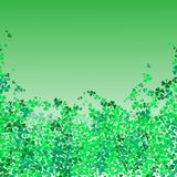 Ευτυχές φεστιβάλ ημέρας Αγίου Πάτρικ ` s Ιρλανδικός εορτασμός Πράσινα φύλλα τριφυλλιών τριφυλλιού στο υπόβαθρο απομονώσεων για τη στοκ φωτογραφία με δικαίωμα ελεύθερης χρήσης