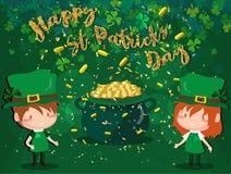 Ευτυχές φεστιβάλ ημέρας Αγίου Πάτρικ ` s Ιρλανδικός εορτασμός Πράσινα φύλλα τριφυλλιών τριφυλλιού στο υπόβαθρο απομονώσεων για τη στοκ φωτογραφία