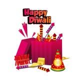 Ευτυχές φεστιβάλ diwali Κιβώτιο κροτίδων πυρκαγιάς Diwali απεικόνιση αποθεμάτων