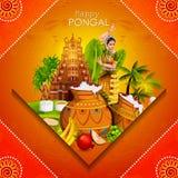 Ευτυχές φεστιβάλ Pongal του υποβάθρου του Tamil Nadu Ινδία ελεύθερη απεικόνιση δικαιώματος