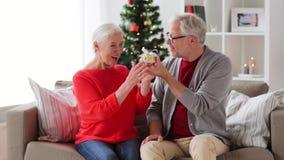 Ευτυχές χαμογελώντας ανώτερο ζεύγος με το δώρο Χριστουγέννων απόθεμα βίντεο