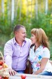 Ευτυχές χαμογελώντας ζεύγος στο δάσος φθινοπώρου στο πικ-νίκ στοκ εικόνες