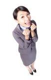 Ευτυχές χαμόγελο επιχειρησιακών γυναικών στοκ φωτογραφία