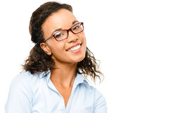 Ευτυχές χαμόγελο επιχειρηματιών αφροαμερικάνων που απομονώνεται στο λευκό  Στοκ φωτογραφίες με δικαίωμα ελεύθερης χρήσης