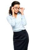 Ευτυχές χαμόγελο επιχειρηματιών αφροαμερικάνων που απομονώνεται στο λευκό  Στοκ Εικόνες