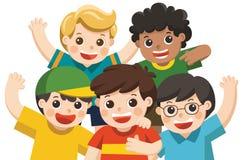 Ευτυχές χαμόγελο καλύτερων φίλων ομάδας αγοριών ελεύθερη απεικόνιση δικαιώματος