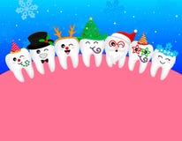 Ευτυχές χαριτωμένο snowflake δοντιών κινούμενων σχεδίων, Άγιος Βασίλης, χριστουγεννιάτικο δέντρο, ελάφια, χιονάνθρωπος ελεύθερη απεικόνιση δικαιώματος