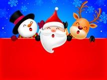 Ευτυχές χιονανθρώπων, Άγιου Βασίλη και ταράνδων υπόβαθρο εμβλημάτων διαφημίσεων εκμετάλλευσης κενό με το διάστημα αντιγράφων απεικόνιση αποθεμάτων