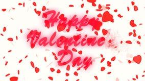 Ευτυχές χρυσό κείμενο ημέρας βαλεντίνων ` s Αφηρημένο υπόβαθρο ημέρας βαλεντίνων ` s, πετώντας καρδιές και μόρια Άσπρη ανασκόπηση απόθεμα βίντεο