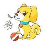 Ευτυχές χρυσό κουτάβι κινούμενων σχεδίων Χαριτωμένος λίγο σκυλί που φορά το περιλαίμιο απεικόνιση αποθεμάτων