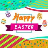 Ευτυχές χρώμα Πάσχας, άσπρο υπόβαθρο με το ζωηρόχρωμο αυγό, κυνήγι αυγών για το σχεδιάγραμμα προτύπων παιδιών Στοκ εικόνες με δικαίωμα ελεύθερης χρήσης