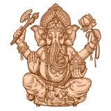 Ευτυχές Ganesh Chaturthi Hand-drawn σκίτσο επίσης corel σύρετε το διάνυσμα απεικόνισης ελεύθερη απεικόνιση δικαιώματος