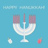 Ευτυχές Hanukkah! Menorah με τα κεριά και dreidel απεικόνιση αποθεμάτων