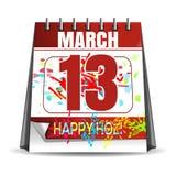 Ευτυχές Holi - 2017 Ημερομηνία διακοπών στο ημερολόγιο 13 Μαρτίου Ετήσιο ινδό φεστιβάλ του χρώματος και της άνοιξη Στοκ φωτογραφία με δικαίωμα ελεύθερης χρήσης
