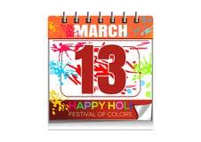 ευτυχές holi Ημερολόγιο τοίχων με την ημερομηνία της 13ης Μαρτίου Ετήσιο ινδό φεστιβάλ του χρώματος και της άνοιξη Στοκ Εικόνες